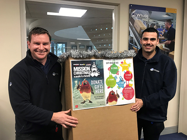 Phil Eadie and Sam McCullough collecting gifts for Cash for Kids